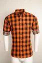 Orange Checked Urban Design Casual Shirts
