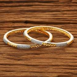2 Tone Plated CZ 2 PC Classic Bangles