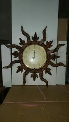 Analog Polished Unique Sun Design Wooden Wall Clock
