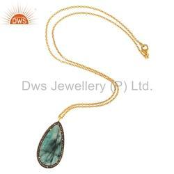 Emerald Pave Set Diamond Pendant Necklace Jewelry
