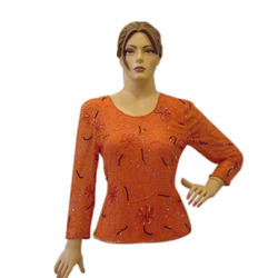 Casual Full Sleeve Ladies Orange Beaded Top