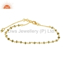 Gold Plated Silver Peridot Beads Gemstone Bracelet