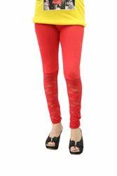 Half Net Leggings - Bright Red