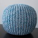 Cotton Modern Designed Knitted Pouf Aqua(foot Stool)