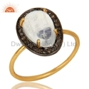 Rainbow Moonstone 925 Silver Gold Plated