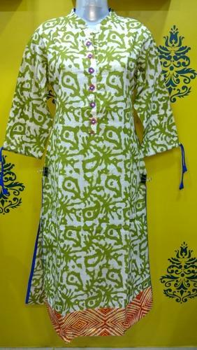 Cotton Dhabu Print Stand Collar Kurti, Size: 40 to 44