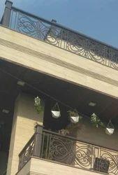 Panel and Bar Iron Designer Balcony Railing
