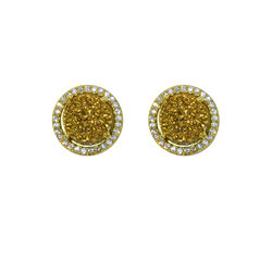 Gold Druzy Pave Set Stud Earring