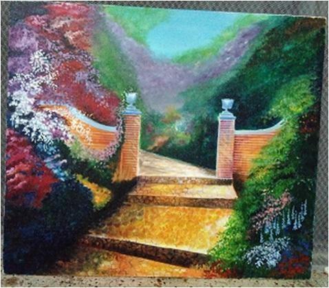 "Acrylic Canvas Painting, Size: 16"" X 16"""