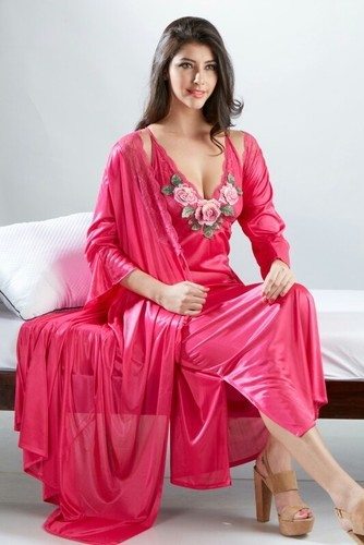 8c6b232707 Nighties Printed Women Satin 2 Piece Nighty, Rs 550 /piece | ID ...