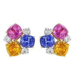 Multi Sapphire Diamond Earrings