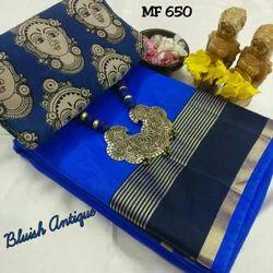 Half fine Zari Gold Festive Wear Butter Silk Saree, 6.3 m (with blouse piece)