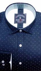 Male Dark Blue Pavone Cotton Printed Shirt