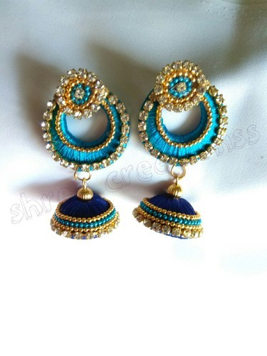 Silk Thread Earring Sky Blue Royal Combination Earrings