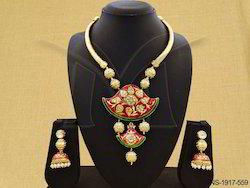 Designer Rajwadi Thewa Pendant Set