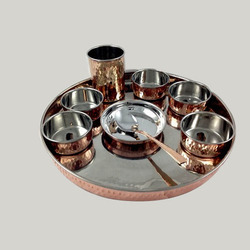Ansh hammerred Copper And Steel Thali Set, For Home, 9
