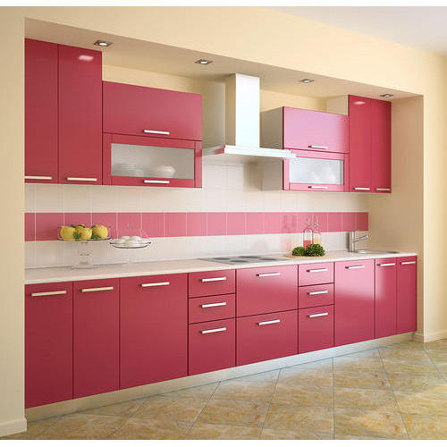 Red Color Modular Kitchen At Rs 5500 Running Feet