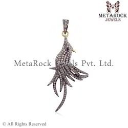 Pave Diamond Bird Design Charm Pendant