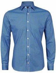 Blue Printed Mens Cotton Woven Shirt