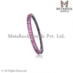 Silver Pink Tourmaline Baguattes Bangle