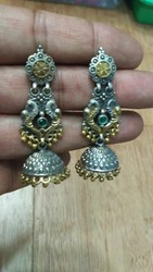Two Tone Silver Plated Jhumki