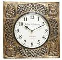 Golden Lakshmi/Ganesh Brass Fitted Wall Clock