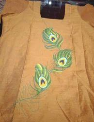 Cotton Party Wear, Hand Painted On Kurta