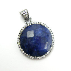 Dyed Blue Sapphire Round Pave Set Pendant