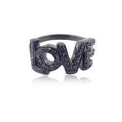 92.5 Sterling Silver Love Initials Letter Ring