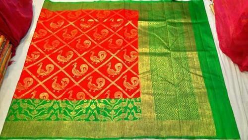 c209ce6eac Banarasi Silk Red With Green Banarasi Pure Handloom Dupion Silk Saree, With  Blouse Piece