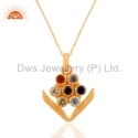 7 Stone Arrow Design Gold Plated Silver Chain Pendant Necklace Jewelry