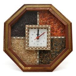 Round Analog Brown Wooden Gems Stone Watch, for Home Decoration
