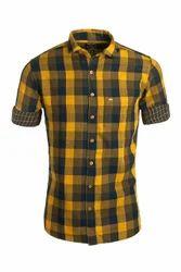 Urban Design Yellow Checked Casual Shirts