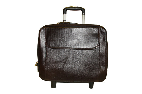 Laptop Trolley Overnight 2 Wheel Genuine Leather Travel Bag