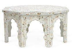White Floral Mother Of Pearl Inlay Hexagon Stool Cum Coffee Table