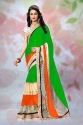 Designer Border Multi Color Sarees
