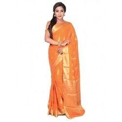 Ladies Chiffon Orange Saree With Golden Boontis