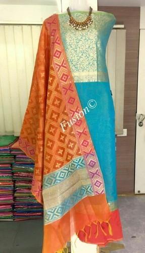 d35a77c076 Printed Banarasi Silk Dress Material, GSM: 50-100, Rs 1200 /piece ...
