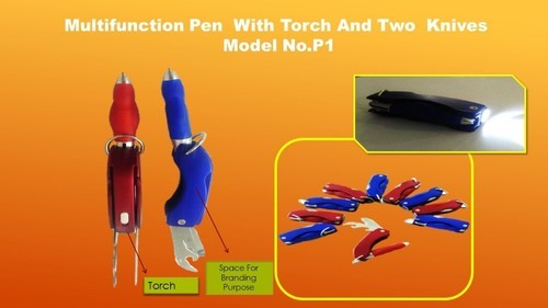 Red, Blue Multi Function Pen with Torch & 2 Swiss Knives