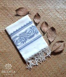 Khadi White Cotton Jamdani Stole