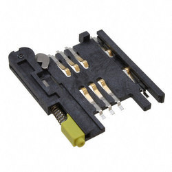 6 Pin Normal Push Push Plastic Sim Card Holder (Yellow Button)