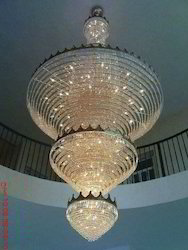 Traditional Candle-Style Crystal Jhoomar, For Home Decor, Shape: Round