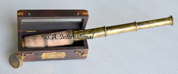 Antique Nautical Brass Telescope With Wooden Box