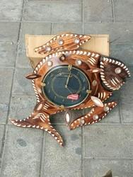 Brown Analog Fish Design Wooden Wall Clock, For Home