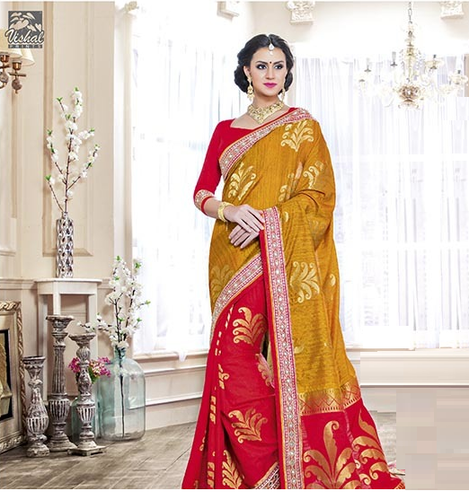 c0a5f825f5d Raw Silk Border Red And Mustard Party Wear Saree