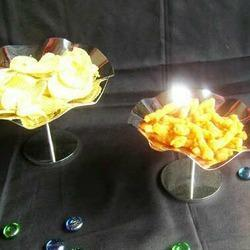 Steel Lotus Shape Snacks Server