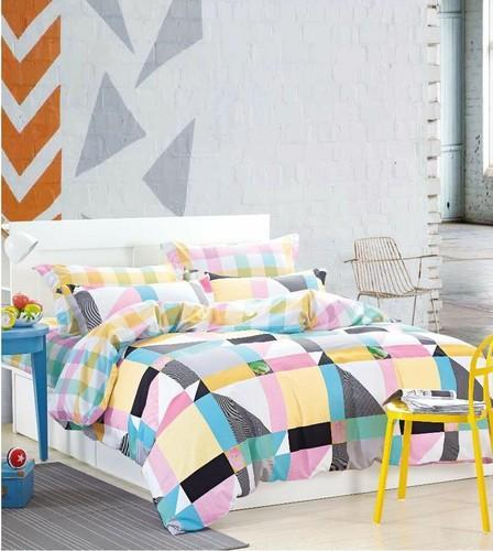 Multi Color Glace Cotton Venice Double Bed Sheets King Size