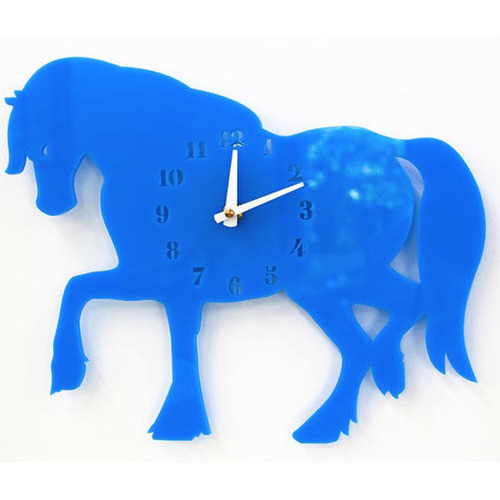 Blue Acrylic Hourse Designer Wall Clock For Kids Room Brain Tag - Wall clock for kids room