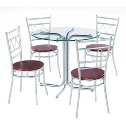 Four Seater Steel Dining Table Set