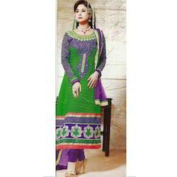 Chiffon Pakistani Embroidered Churidar Suit, For Party Wear, Machine wash